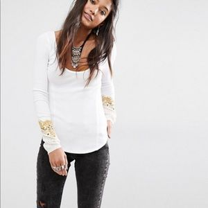Free People White Thermal Embroidered Cuff Detail